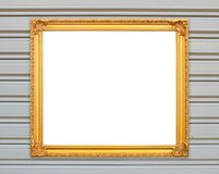 Blank golden frame on metal wall Stock Photography