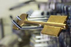 Blank golden key for cutting Stock Photos