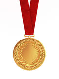 Blank golden medal with ribbon for first place. Championship isolated on white background Stock Image