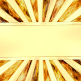 Blank golden plate on rays background with flame. High resolution 3D image Royalty Free Stock Photography
