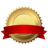 Blank golden quality label. With red banner  template isolated on white background Stock Photography