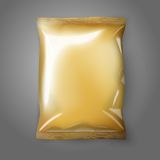 Blank golden realistic foil snack pack isolated. Blank golden realistic foil snack pack isolated on grey background with place for your design and branding Royalty Free Stock Image