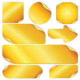 Blank Golden Stickers, Notes, Labels. Stock Images