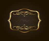 Blank golden vintage frame, banner, label, Vector EPS10. Gold Decorative with place for text Stock Images