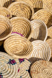 Blank golden woven baskets, containers and plates for sell on ma Royalty Free Stock Photography