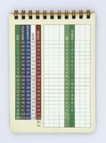 Blank golf score card. For 18 holes golf course Royalty Free Stock Image