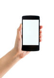 Blank Google Nexus 5 in hand Royalty Free Stock Photo