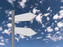 Blank traffic sign. A blank traffic sign with two pointing signs on a blue sky background royalty free stock photos