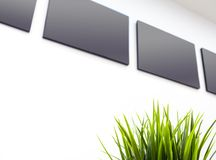 The blank gray canvas picture frame on the wall royalty free stock images