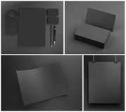 Blank Gray stationery mock-up template on gray background. Stock Photos