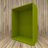 Blank greem box on Wooden background Royalty Free Stock Photos