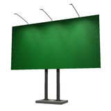Blank green billboard, isolated on white. 3d illustration Royalty Free Stock Photo