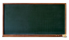 Blank green blackboard cutout. Green blank blackboard with wooden frame, chalktray and eraser. Isolated over white. Add any text, message or greeting you want Stock Photography