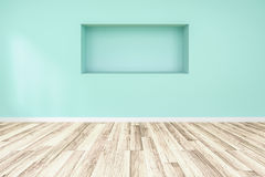 Blank green blue wall interior with ligt shadow from windows for design Stock Photography