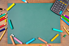 Blank Green board with stationery. Stock Images