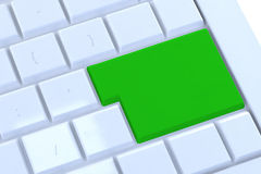 Blank green button on the keyboard Stock Photo