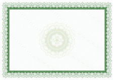 Blank green certificate. A blank green certificate or diploma with green  background Royalty Free Stock Photography