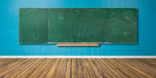 Free Blank Green Chalkboard, Blackboard Texture With Copy Space Hangs On Blue Grunge Wall And Wooden Floor 3D-Illustration Royalty Free Stock Photography - 149140157