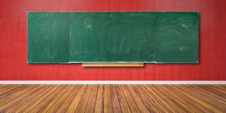 Free Blank Green Chalkboard, Blackboard Texture With Copy Space Hangs On Red Grunge Wall And Wooden Floor 3D-Illustration Stock Images - 149140204