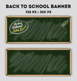 Blank green color chalkboard banner Stock Photography