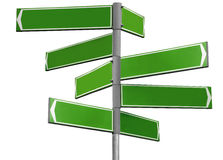 Blank green direction sign