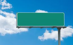 Blank green freeway sign. Typical green freeway sign ready for custom text stock image