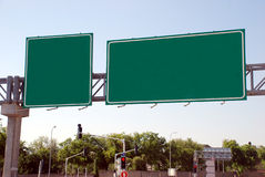 Blank green high way Sign stock image