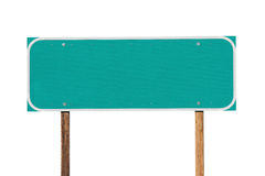 Blank Green Highway Sign Isolated Stock Photos