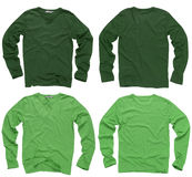Blank green long sleeve shirts. Photograph of two wrinkled blank green and light green long sleeve shirts, fronts and backs. Clipping path included. Ready for stock image
