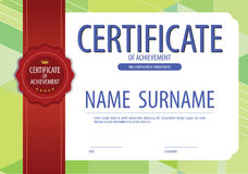 Blank Green Modern Certified Border Template With Red Ribbon Stock Images