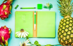 Blank green notebook with tropical fruit and accessories laying on blue table.Home office,workspace design backgrounds Stock Photos