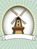 Blank green oval windmill product label vector Royalty Free Stock Photo