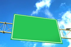 Blank green overhead traffic sign Royalty Free Stock Image