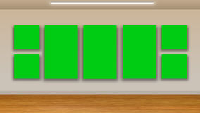 Blank green pictures on wall Stock Photo