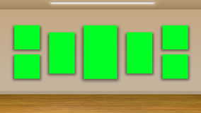 Blank green pictures on wall Stock Photography