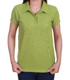 Blank green polo shirt on woman Royalty Free Stock Photography