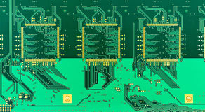 Blank green printed circuit board (PCB) Royalty Free Stock Photos