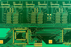Blank green printed circuit board (PCB) Royalty Free Stock Image