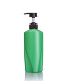 Blank green pump plastic bottle used for shampoo or soap. Studio Stock Image