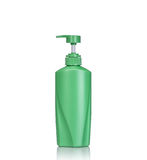 Blank green pump plastic bottle used for shampoo or soap. Studio Royalty Free Stock Photography