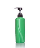 Blank green pump plastic bottle used for shampoo or soap. Studio Stock Photo