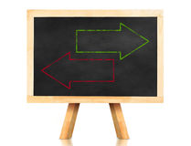 Blank green and red arrow in reverse way on blackboard with ease Stock Photos