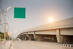 Blank green road sign. Or Empty traffic signs stock image