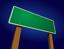 Blank Green Road Sign Illustration Against Blue vector illustration