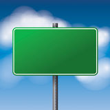 Blank Green Road Sign Illustration Stock Photography