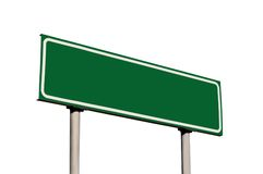 Blank Green Road Sign Isolated Guide Post Royalty Free Stock Image