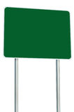 Blank Green Road Sign Isolated, Large Perspective Copy Space, White Frame Roadside Signpost Signboard Pole Post Empty Signage. Blank Green Road Sign Isolated Stock Photo
