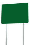 Blank Green Road Sign Isolated, Large Perspective Copy Space Royalty Free Stock Image
