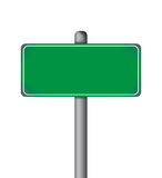 Blank Green Road Sign Isolated Stock Images