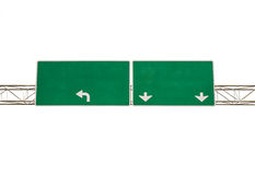 Blank Green Road Sign on white background Royalty Free Stock Photos